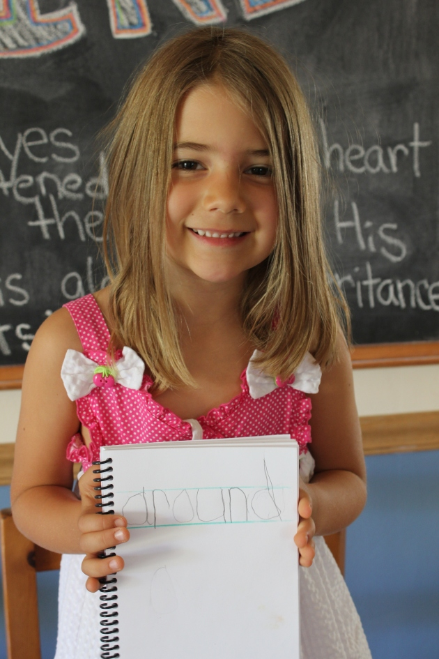Faith's new Word Book (to practice handwriting and to record all words she learns how to read)