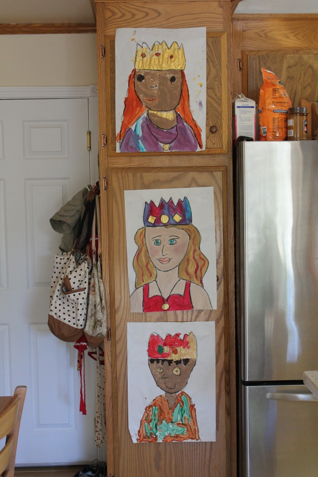 Queen Faith, Queen Mommy, and King Noah--a new twist on self portraits