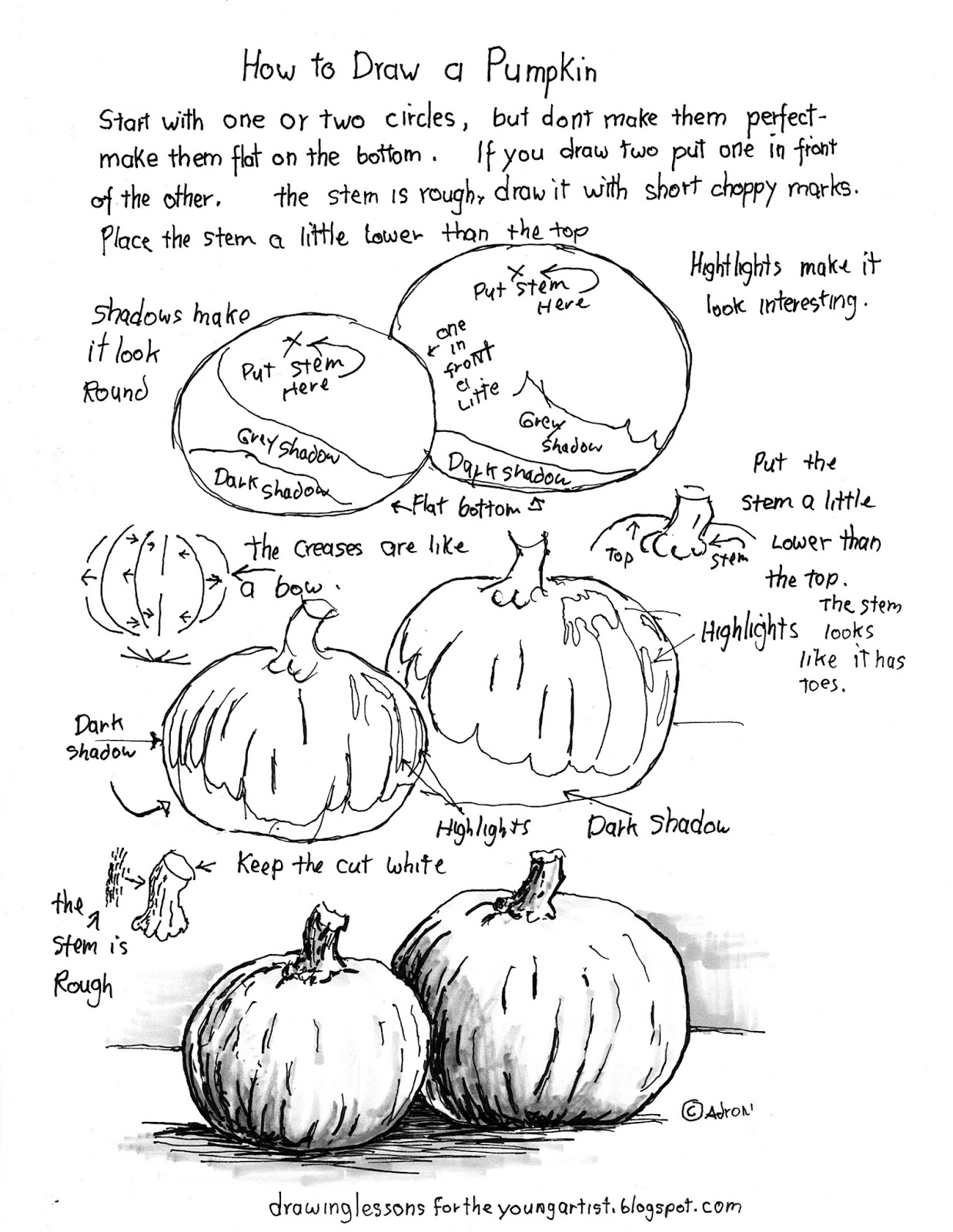 How to Draw Worksheets for The Young Artist: How To Draw A Pumpkin.  Worksheet and Lesson.